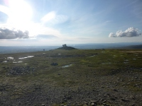 The summit of Inglebrough, Morecambe Bay in the background